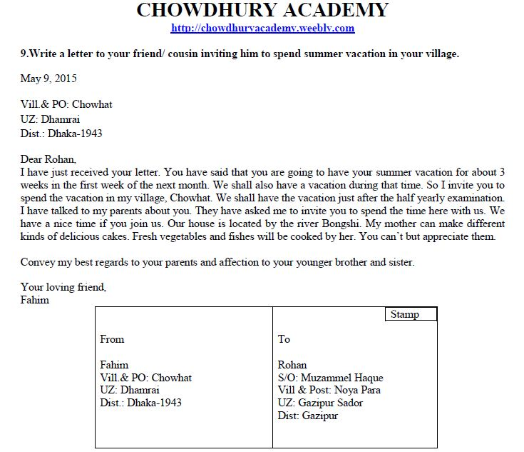 Informal Letter Chowdhury Academy